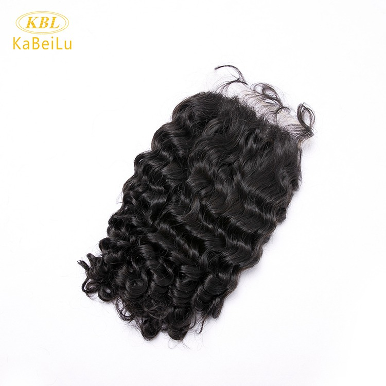 Pre-plucked 5 by 5 transparent lace closure virgin brazilian hair deep wave