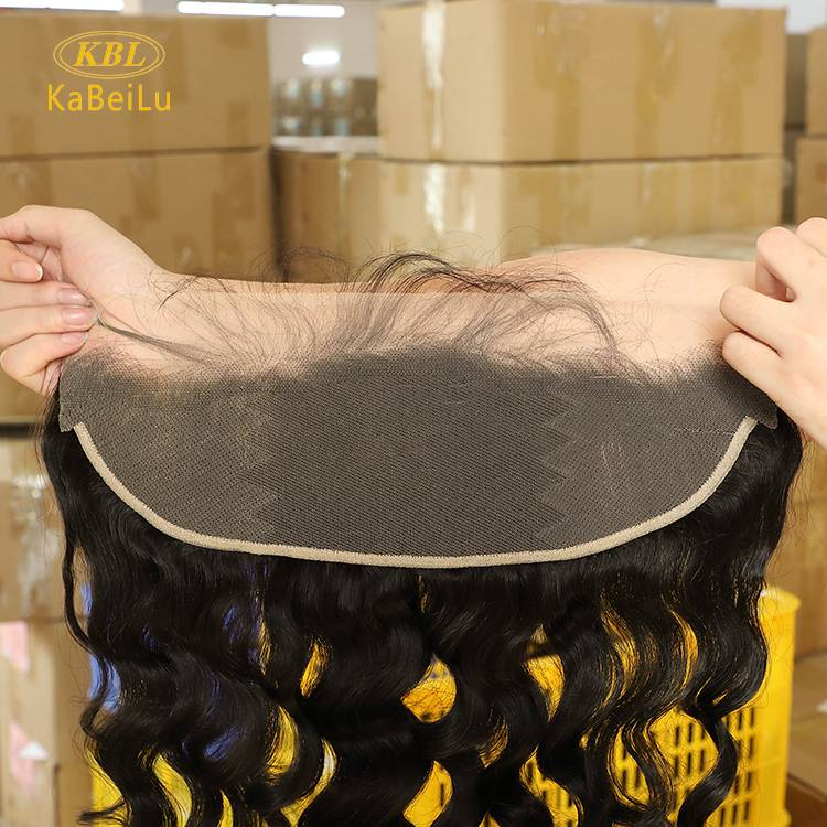 KBL HAIR Virgin brazilian human  Loose  wave Ear To Ear 13X5 Lace Frontal in transparent lace