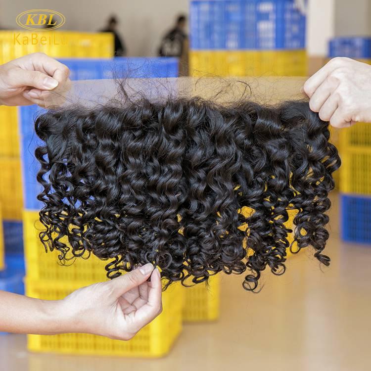 Wholesale kbl hair closure and bundles match transparent lace pre-plucked hair line deep wave