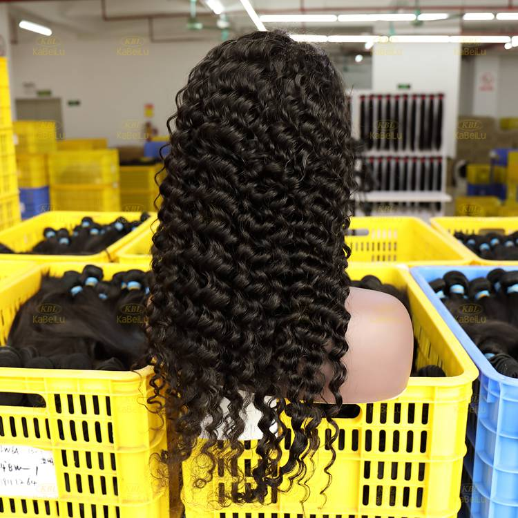 Wholesale 180% Frontal Lace Wig natural black Color deep wave