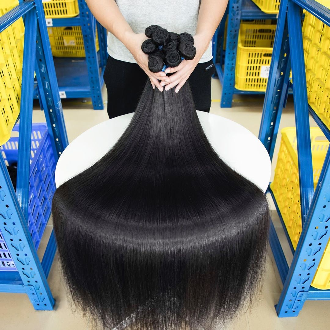 50 Long inches KBL virgin hair blue rubber band hair quality with full cuticle alighned